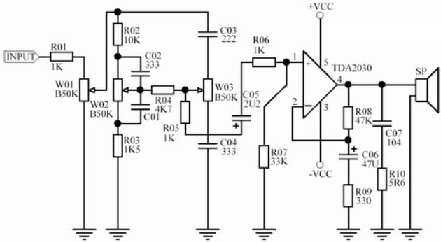c05 为隔直电容,防止后级的 tda2030a直流电位对前级音调电路的影响.