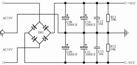 输出电压为 2*15v,滤波电容采用 2 个 3300uf/25v 电解电容并联,正负